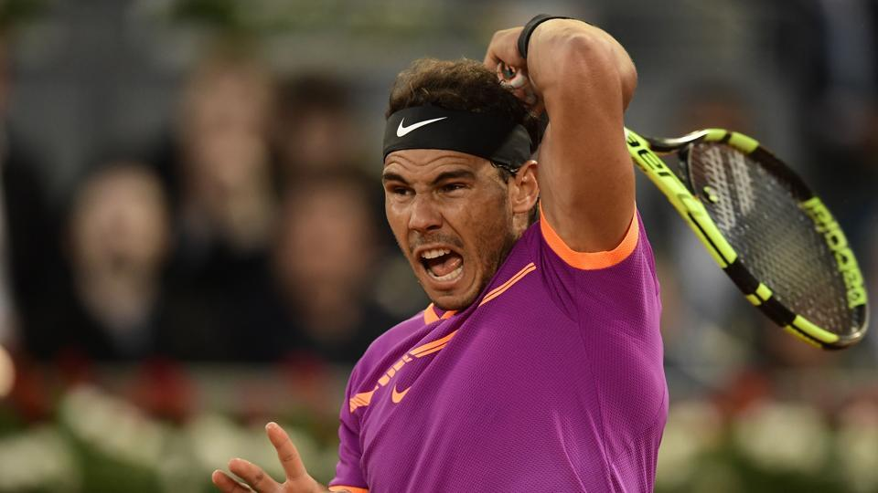 Rafael Nadal in action against Nick Kyrgios at the Madrid Open.