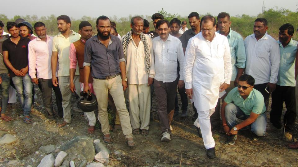 Transport minister Yashpal Arya inspects the site where the skeletons were found on Wednesday.
