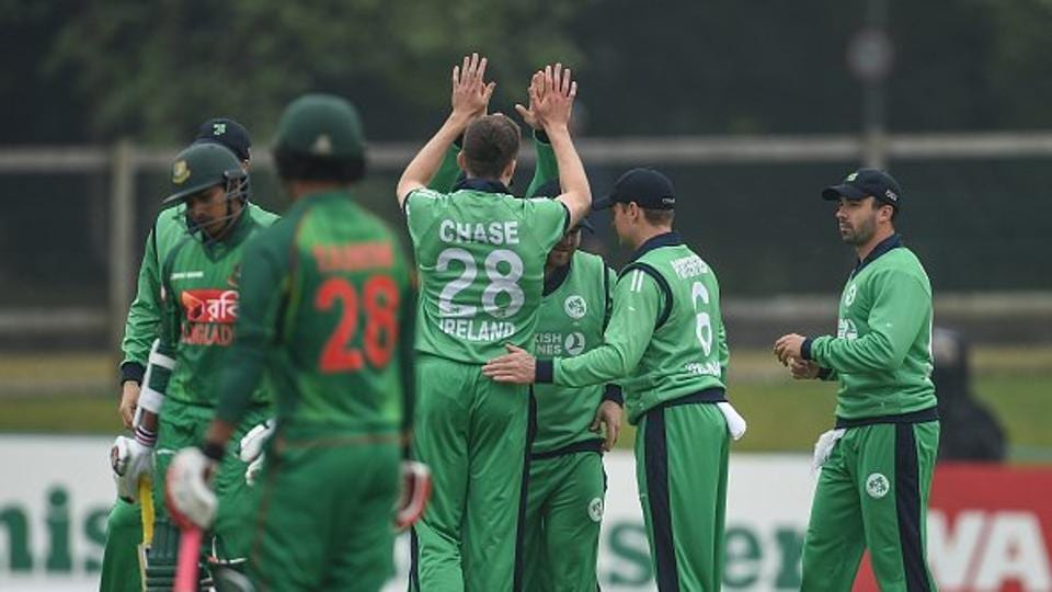 Rain played spoilsport in the first ODI of the tri-series between Ireland and Bangladesh in Dublin on Friday.