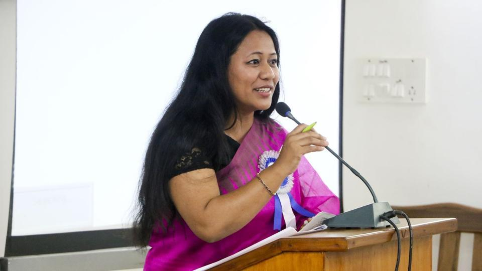 Human rights activist Binalakshmi Nepram delivering a talk at Mizoram University.