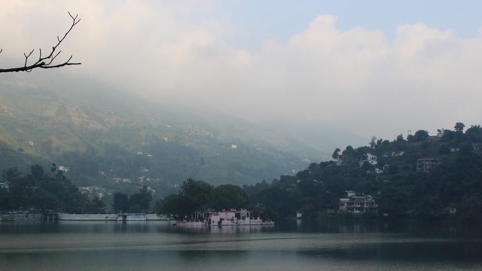 Bhimtal Lake with an island at the centre.