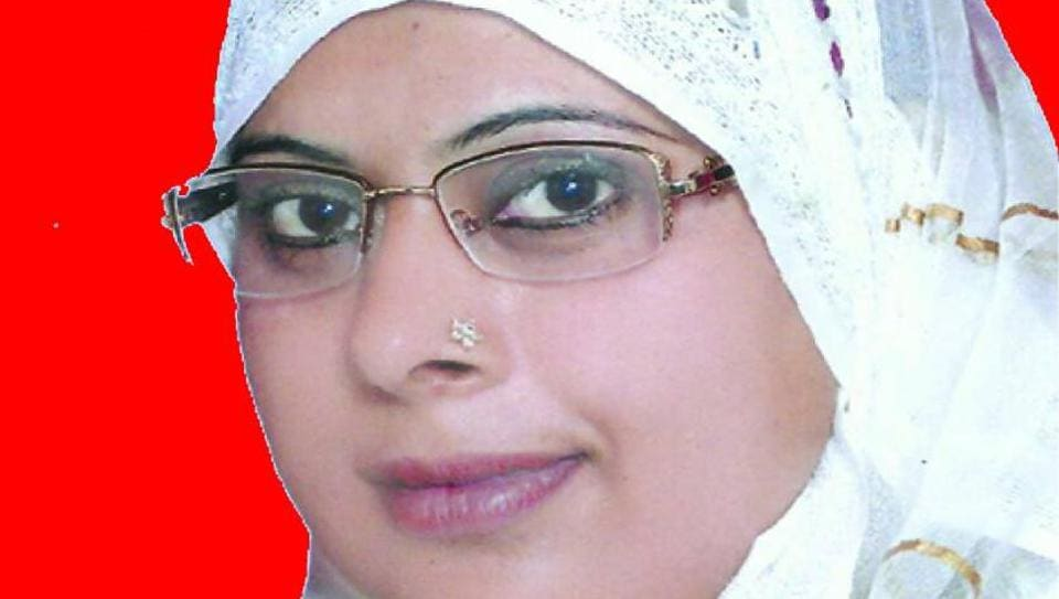 Shaheen, deceased SP candidate Naseema's daughter, who is contesting in the Maujpur bypolls on Sunday.