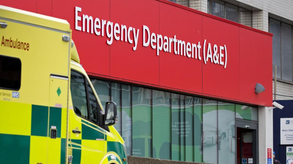 This file photo taken on January 13, 2017 shows an ambulance parked outside the Accident and Emergency department (A&E) at St Thomas' Hospital in London. Several British hospitals were hit by a cyber attack on May 12, 2017, the country's National Health Service said, forcing some to cancel routine appointments.