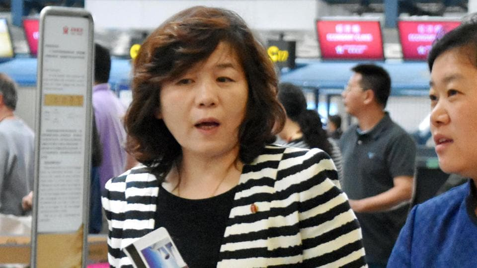 Choi Sun-hee, the top North Korean diplomat who handles relations with the US walks prior to her departure for Pyongyang, North Korea, at Beijing Capital International Airport in Beijing on May 13.