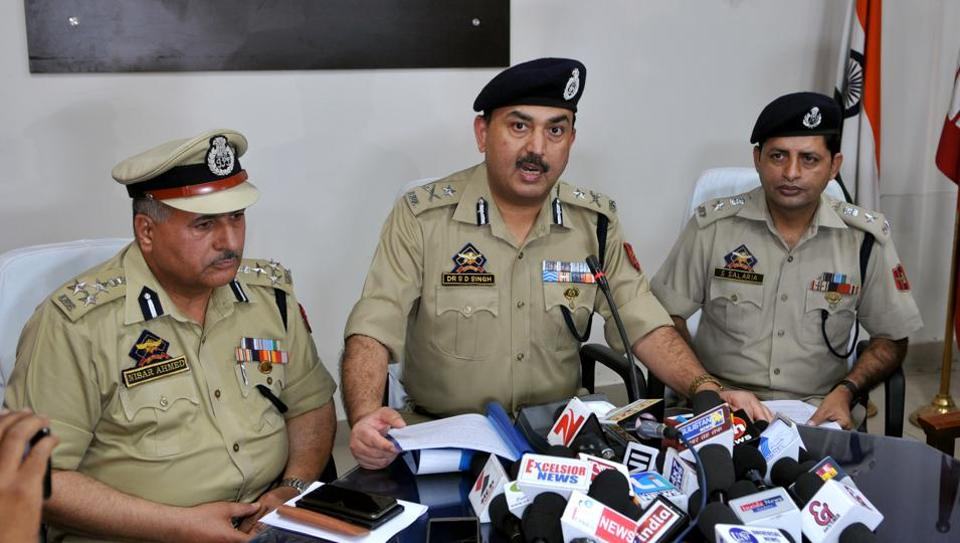 Jammu  IG SD Jamwal addressing a press conference, in Jammu on May 13.