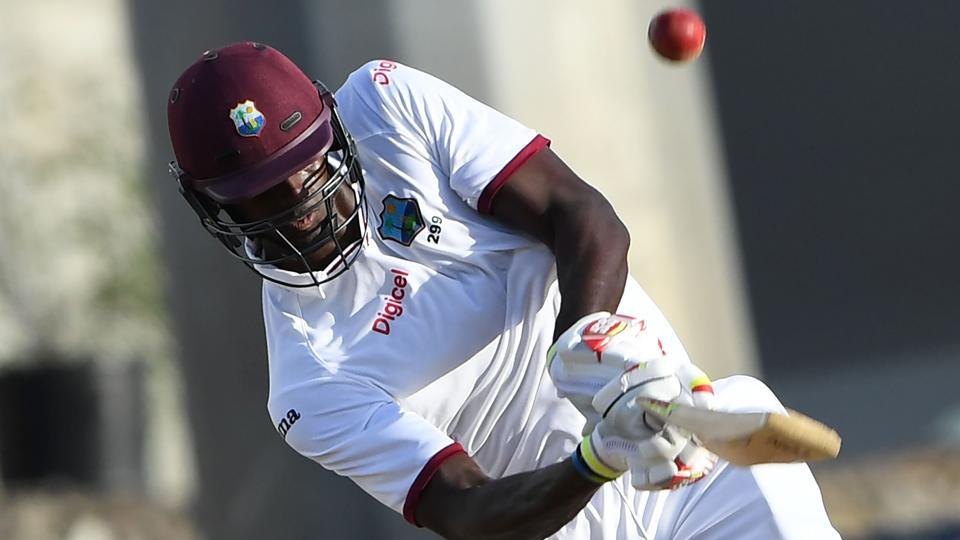 West Indies cricke team batsman Jason Holder hits a six off the bowling of Yasir Shah of Pakistan cricket team during the third days play of the 3rd and final Test at the Windsor Park Stadium in Roseau, Dominica, on Friday.