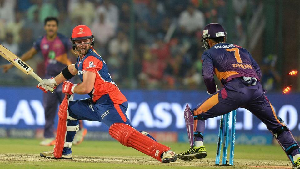 Rising Pune Supergiant (RPS) wicketkeeper MS Dhoni (R) stumps out Delhi Daredevils batsman Corey Anderson during their Indian Premier League (IPL) match on Friday.