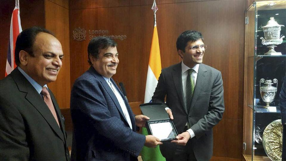 Nitin Gadkari is presented a memento at the market opening ceremony of London Stock Exchange on Thursday.