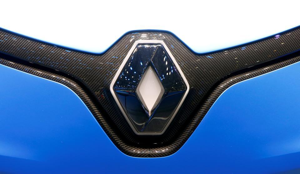 The logo of Renault is seen during the 87th International Motor Show at Palexpo in Geneva.