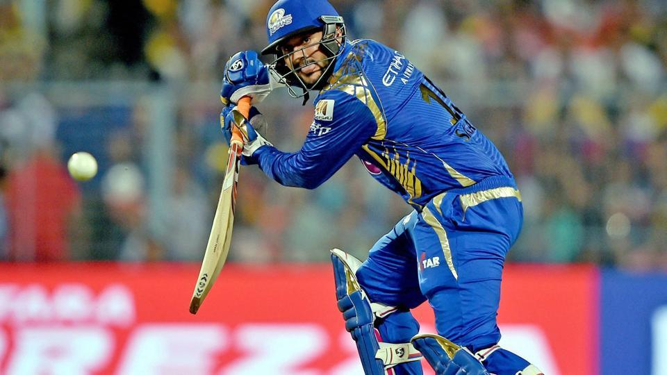 Mumbai Indians' Saurabh Tiwary en route to scoring 51 against Kolkata Knight Riders in an Indian Premier League (IPL) 2017 match.