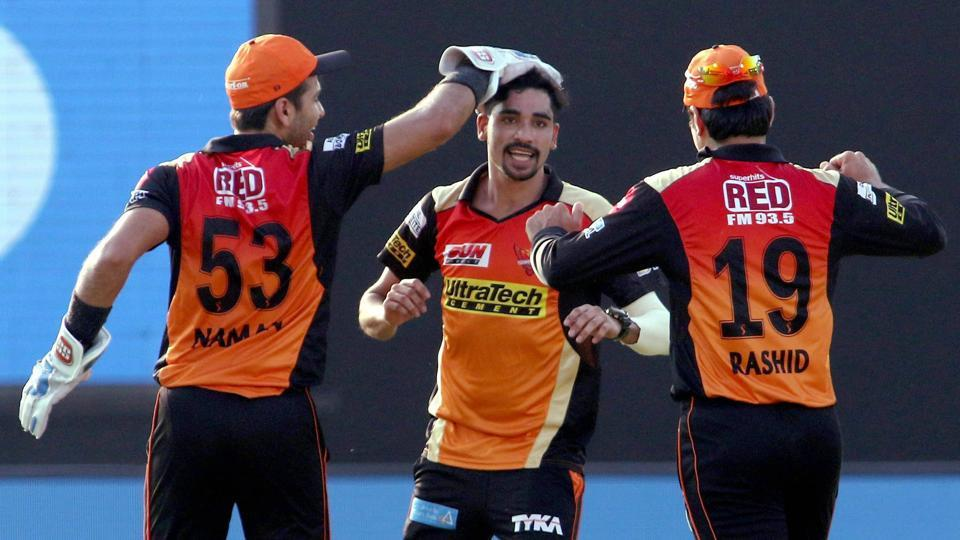 Mohammed Siraj (C) picked four wickets for Sunrisers Hyderabad against Gujarat Lions in their Indian Premier League (IPL) 2017 match in Kanpur on Saturday.
