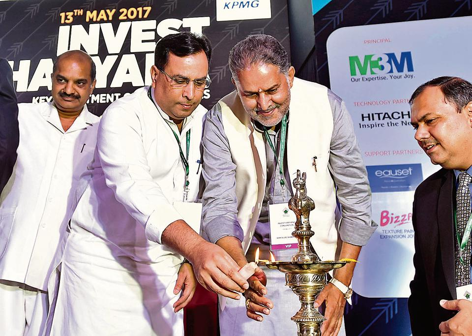 Finance minister Captain Abhimanyu (left) inaugurates the Invest Haryana summit on Saturday.