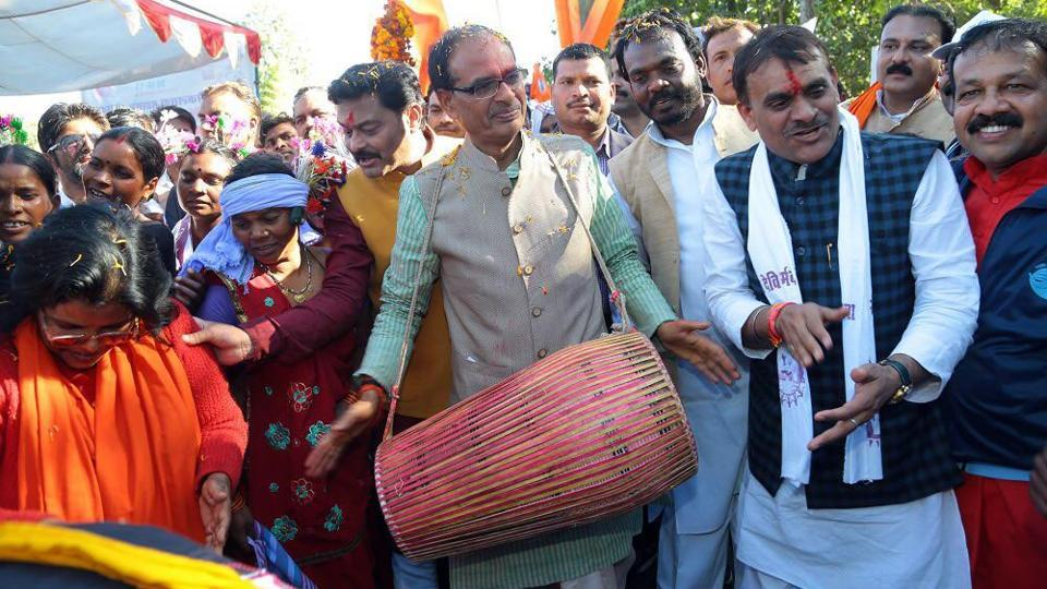 Madhya Pradesh chief minister Shivraj Singh Chouhan launches the Narmada Yatra in December.