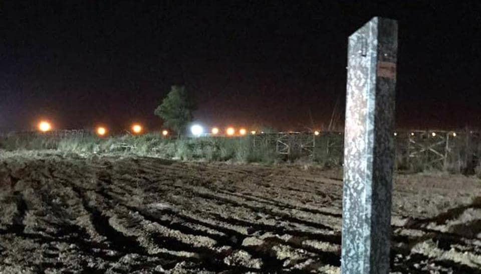 Laser walls which have been installed along the Samba sector border on the Jammu Frontier to check infiltrations.