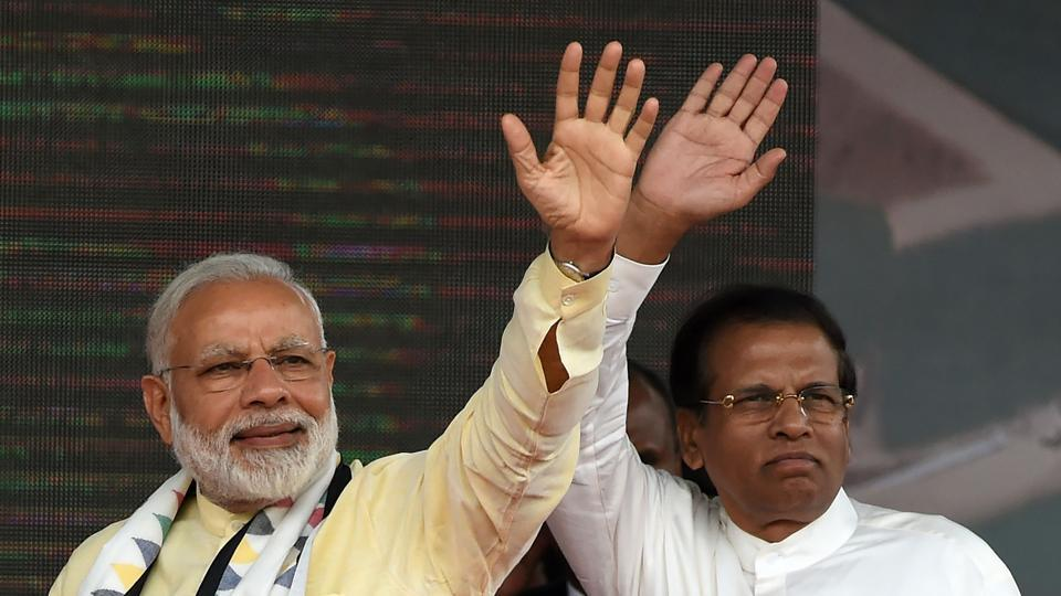 Prime Minister Narendra Modi  and Sri Lankan President Maithripala Sirisena address a public rally at Norwood, some 80km east of Colombo, May 12