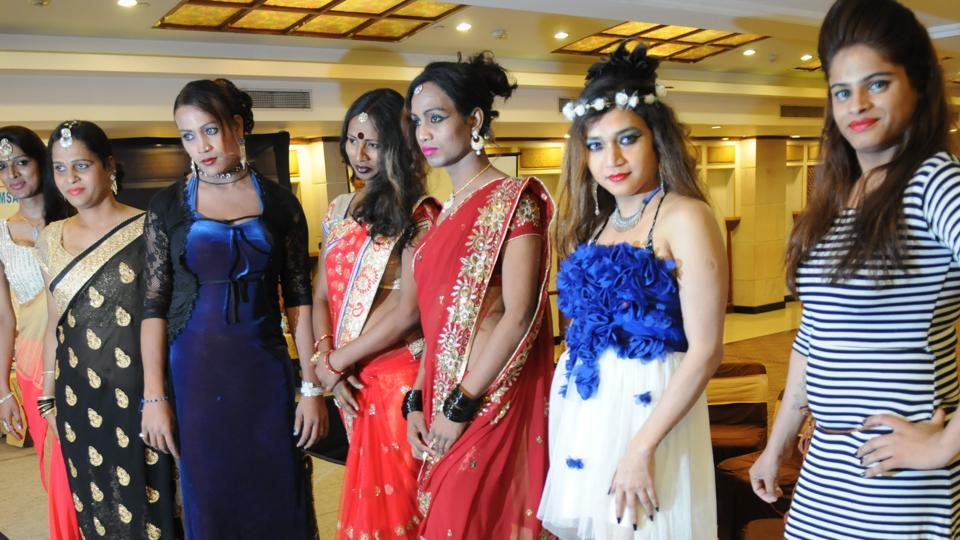 Participants at a fashion show on Transgender Day in Patna.