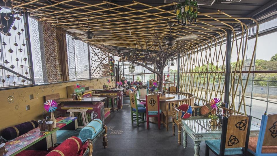 The vibe is easy, thanks to the dhaba-style décor, complete with comfortable coir-mesh khatiyaas. There's even a jhula at one end.