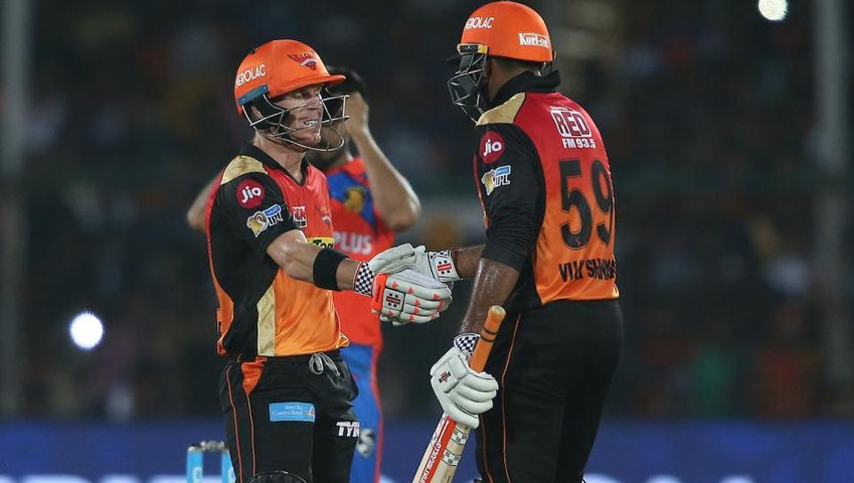 Captain David Warner and Vijay Shankar guided Sunrisers Hyderabad into the 2017 Indian Premier League playoffs with an eight wicket victory over Gujarat Lions at Green Park in Kanpur on Saturday. (BCCI)