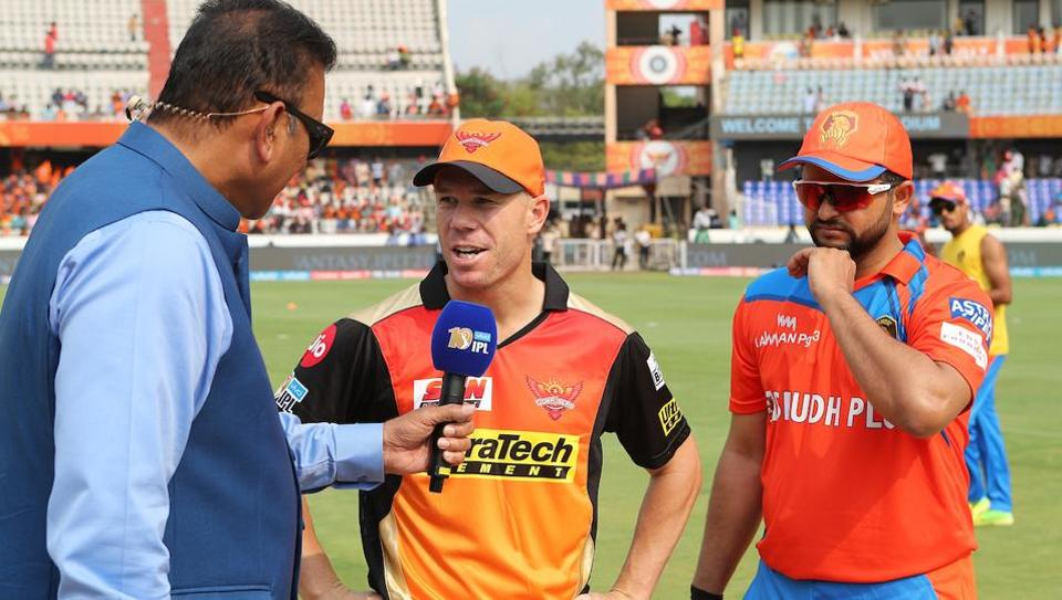 Sunrisers Hyderabad captain David Warner and Gujarat Lions captain Suresh Raina at the toss during their first round IPL 2017 match at the Rajiv Gandhi International Cricket Stadium in Hyderabad on April 9. Live streaming and live cricket score of GLvs SRH second-leg tie in Kanpur is available online