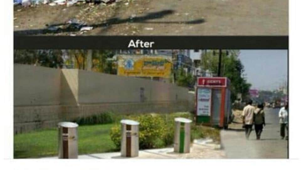The 'before' and 'after' picture posted by the Hyderabad mayor on social media. The post was later taken down.