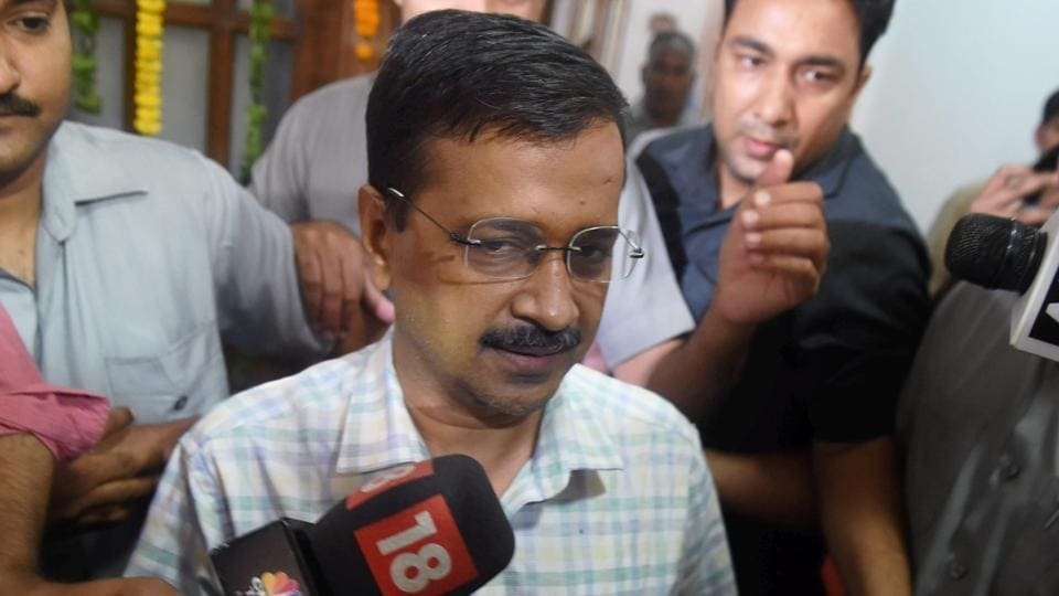 Delhi chief minister Arvind Kejriwal talks to media as he leaves after attending the special session of the assembly in New Delhi on Tuesday.