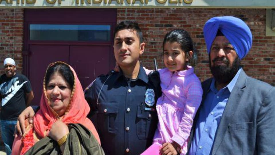 Mittan Katoch (in police uniform) with his family inAmerica.