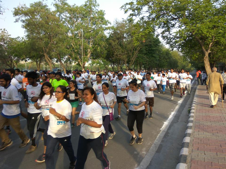 Students from IIT Delhi and locals run in a marathon organised on Sunday in Delhi to spread awareness about road accident deaths.