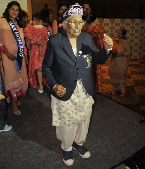 101-year-old Maan Kaur during an event celebrating Mother's Day at JW Marriott in Sector 35, Chandigarh. (Karun Sharma/HT Photo)