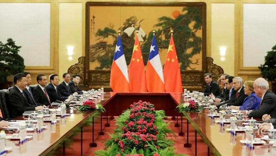 Chilean President Michelle Bachelet meets Chinese President Xi Jinping ahead of the Belt and Road Forum in Beijing.