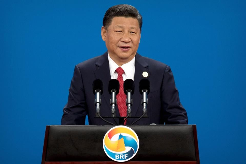 China's President Xi Jinping speaks during the opening ceremony of the Belt and Road Forum at the China National Convention Center (CNCC) in Beijing on May 14, 2017.