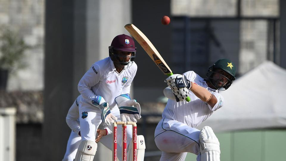 Pakistan cricket team batsman Mohammad Amir hits a boundary off Devendra Bishoo (not in pic) on Day 4 of the third and final Test at the Windsor Park Stadium in Roseau, Dominica, on Saturday. Get cricket score of day 4 of third Test between West Indies vs Pakistan here.