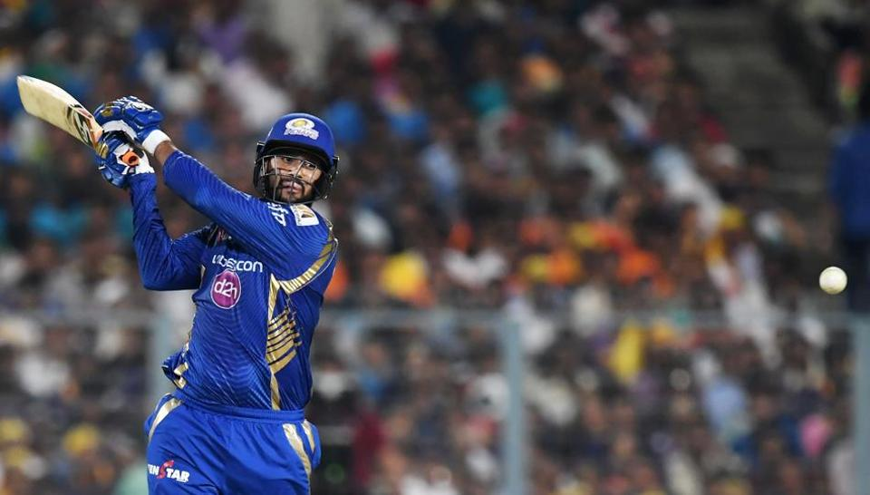 Mumbai Indians (MI) cricketer Saurabh Tiwary hits a boundary during his 42-ball 41 against Kolkata Knight Riders (KKR) in the Indian Premier League (IPL) on Saturday.