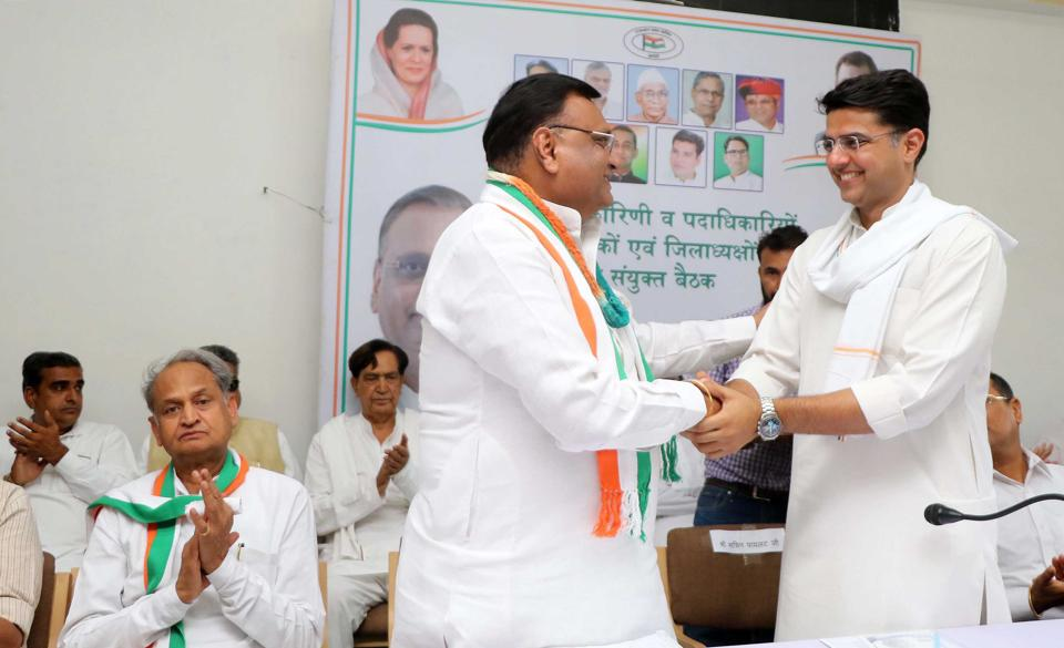 Rajasthan Congress chief Sachin Pilot welcomes Avinash Pande, the newly appointed state party in-charge in Jaipur on Sunday.