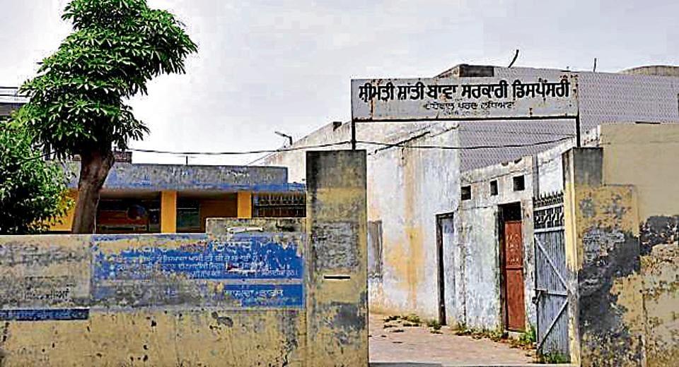 Shrimati Shanti Bawa government dispensary at Haibowal Khurd. The dispensary does not have a doctor and pharmacist.