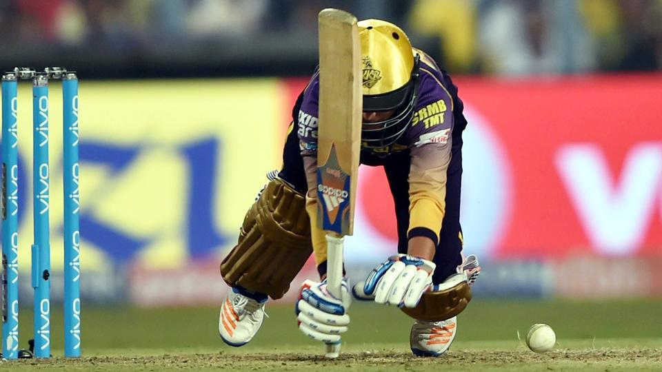 Kolkata Knight Riders (KKR)batsman Kuldeep Yadav loses his balance while going for a big one during the Indian Premier League match against Mumbai Indians (MI) in Kolkata on Saturday. The loss against MImeans that KKRwill have to wait for the result between the Rising Pune Supergiant (RPS) vs Kings XIPunjab (KXIP)match on Sunday to know in which position they will qualify for the IPL play-offs.