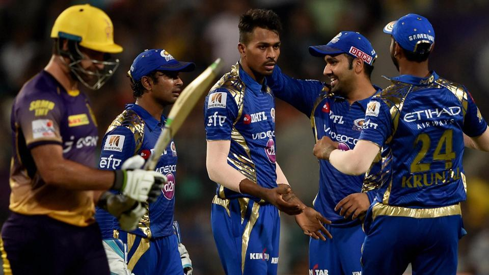 Mumbai Indians players celebrate after the dismissal of a Kolkata Knight Riders batsman in an Indian Premier League (IPL) 2017 match at the Eden Gardens.