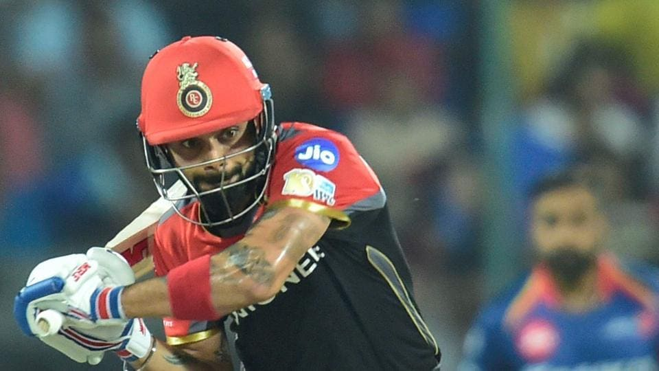 Royal Challengers Bangalore captain Virat Kohli plays a shot during the IPL 2017 match against Delhi Daredevils in New Delhi on Sunday.