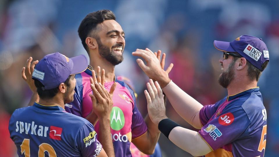 Rising Pune Supergiants bowler Jaydev Unadkat celebrates the dismissal of a Kings XI Punjab batsman in an Indian Premier League (IPL) 2017 match.