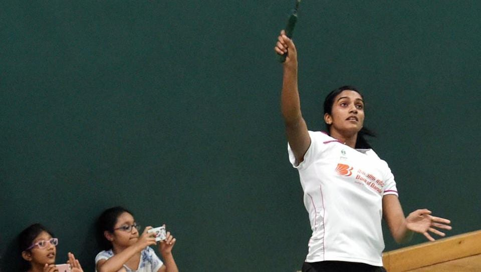 Rio Olympics silver medallist PV Sindhu played a friendly match in Mumbaibefore her felicitation.