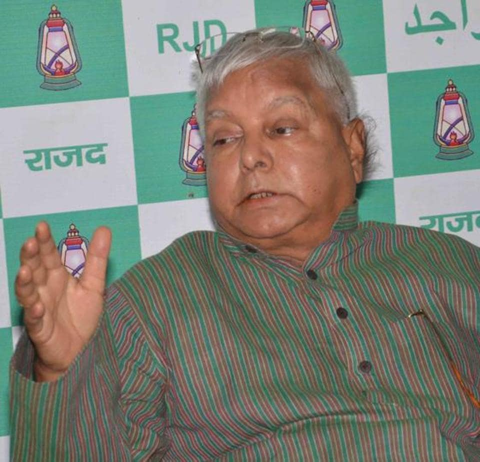 RJD chief Lalu Prasad addressing a press conference in Patna, on Sunday.