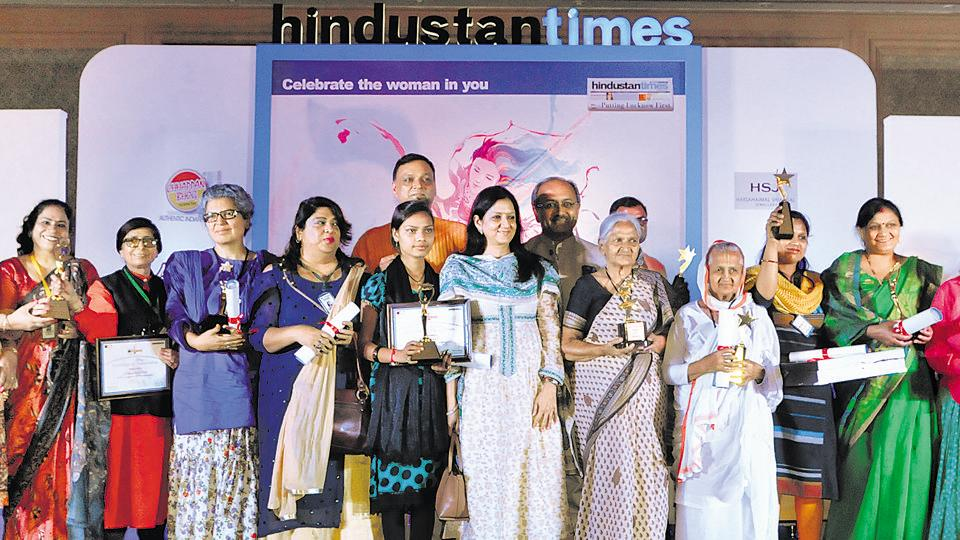 The winners of different categories pose with UP's health minister Siddharth Nath Singh after the award ceremony in Lucknow on Sunday