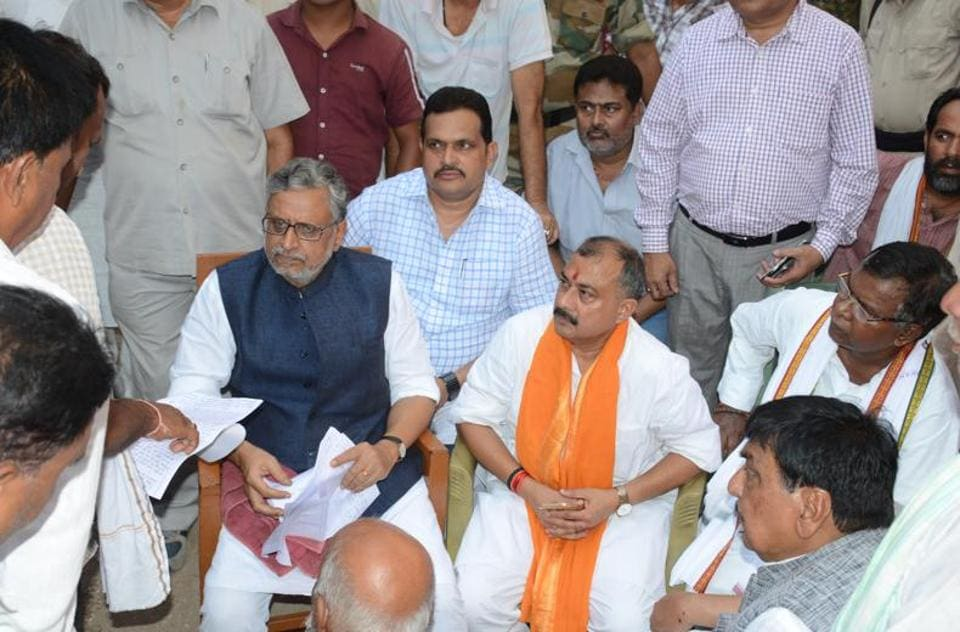 Ex-deputy CMSushil Modi (in black jacket) and other BJP leaders meet the victims of violence in Gaya.