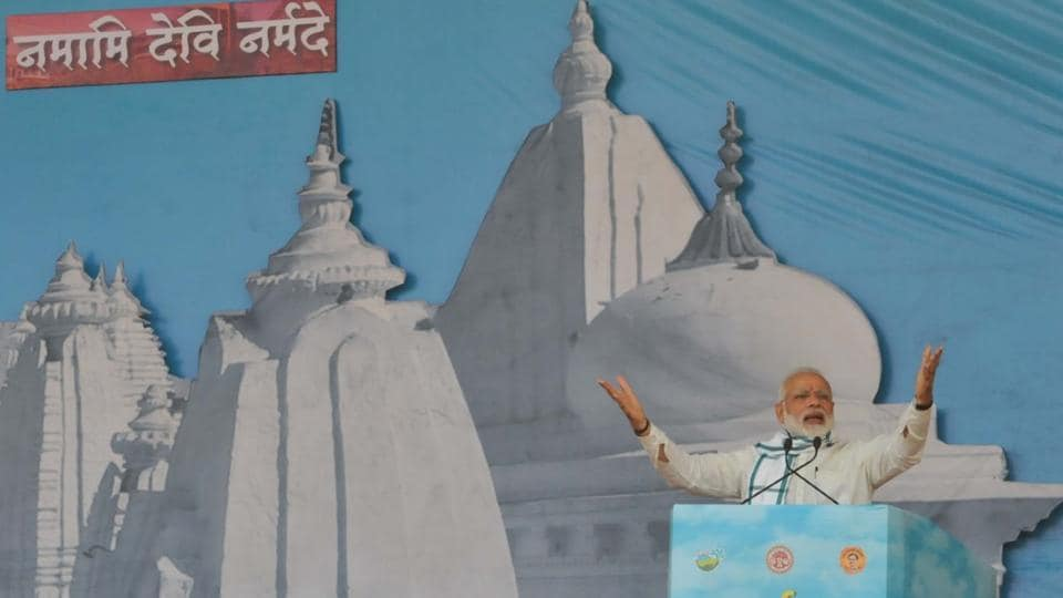 Prime Minister Narendra Modi addresses the gathering at the concluding programme of the Narmada Seva Yatra in Amarkantak on Monday.
