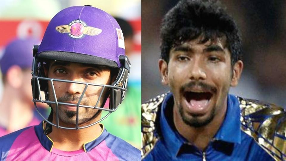 Ajinkya Rahane (L) and Jasprit Bumrah will come face to face in the IPL 2017 1st qualifier between Mumbai Indians and Rising Pune Supergiant at the Wankhede Stadium in Mumbai on Tuesday.
