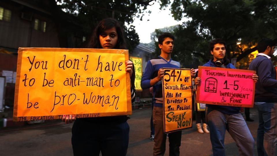 Delhi University students on the second anniversary of the December 16 gang rape case, New Delhi,  2014