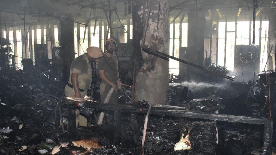 Panjab University,Chandigarh,fire