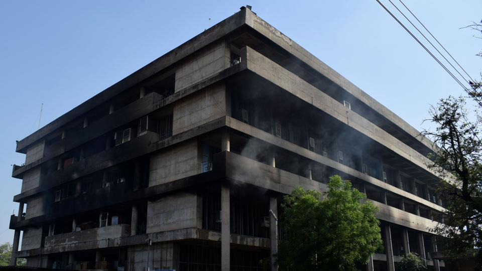 A portion of the Panjab University administrative building caught fire early Sunday morning.