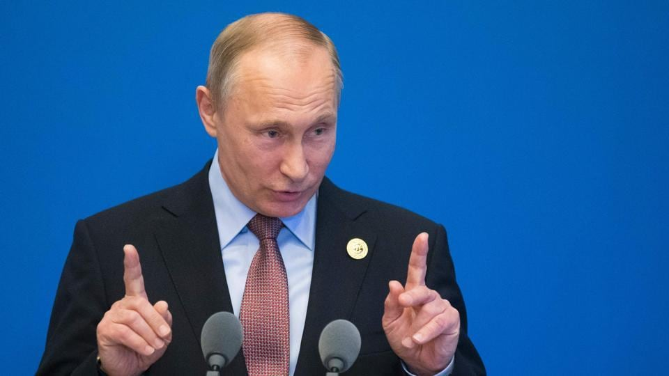 Russian President Vladimir Putin gestures while speaking to the media after the Belt and Road Forum at the China National Convention Center at the Yanqi Lake venue outside Beijing on Monday.