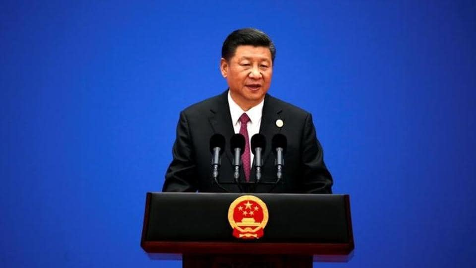 Chinese President Xi Jinping attends a news conference at the end of the Belt and Road Forum in Beijing, China.