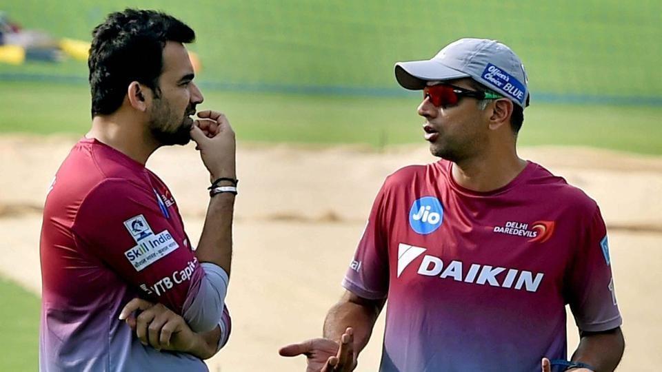 Delhi Daredevils captain Zaheer Khan and mentor Rahul Dravid (right) during a training session at Eden Garden in Kolkata during IPL 2017.
